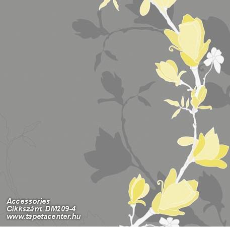 Rajzolt,retro,természeti mintás,virágmintás,fehér,sárga,szürke,gyengén mosható,vlies poszter, fotótapéta