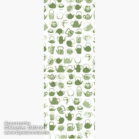 Konyha-fürdőszobai,rajzolt,retro,fehér,zöld,gyengén mosható,vlies poszter, fotótapéta