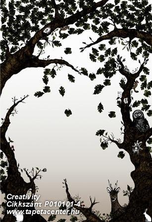 Fa hatású-fa mintás,különleges motívumos,rajzolt,retro,természeti mintás,fehér,fekete,gyengén mosható,vlies poszter, fotótapéta