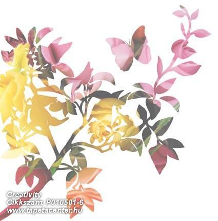 Rajzolt,retro,természeti mintás,virágmintás,fehér,lila,piros-bordó,sárga,zöld,gyengén mosható,vlies poszter, fotótapéta
