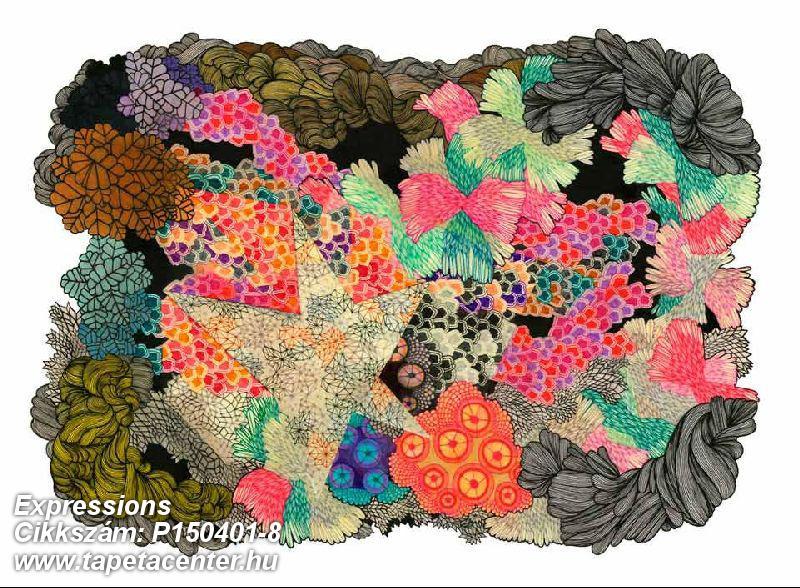 Absztrakt,geometriai mintás,rajzolt,retro,természeti mintás,barna,kék,narancs-terrakotta,zöld,gyengén mosható,vlies poszter, fotótapéta
