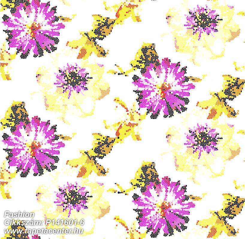 Absztrakt,különleges motívumos,rajzolt,retro,természeti mintás,virágmintás,pink-rózsaszín,sárga,gyengén mosható,vlies poszter, fotótapéta