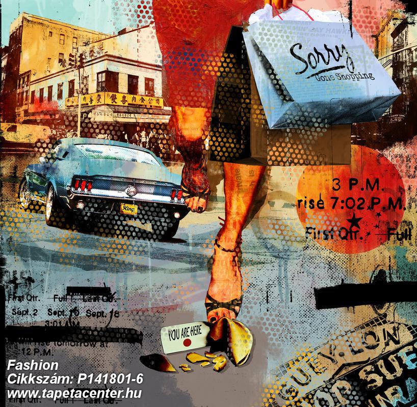 Feliratos-számos,különleges motívumos,rajzolt,retro,fekete,kék,narancs-terrakotta,sárga,gyengén mosható,vlies poszter, fotótapéta