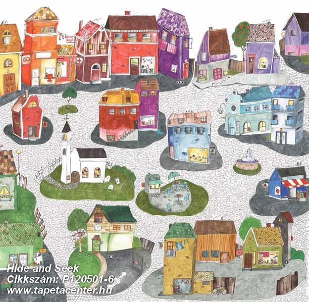 Gyerek,rajzolt,tájkép,fehér,fekete,kék,narancs-terrakotta,piros-bordó,zöld,gyengén mosható,vlies poszter, fotótapéta