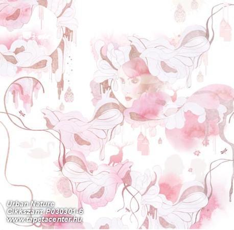 Különleges motívumos,természeti mintás,fehér,pink-rózsaszín,gyengén mosható,vlies poszter, fotótapéta