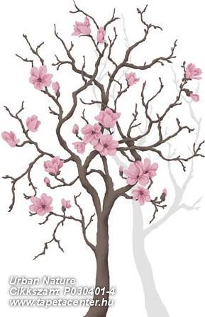 Fa hatású-fa mintás,virágmintás,barna,fehér,pink-rózsaszín,szürke,gyengén mosható,vlies poszter, fotótapéta