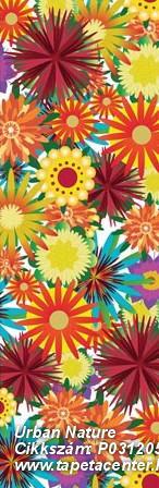 Virágmintás,fehér,piros-bordó,sárga,türkiz,zöld,gyengén mosható,vlies poszter, fotótapéta