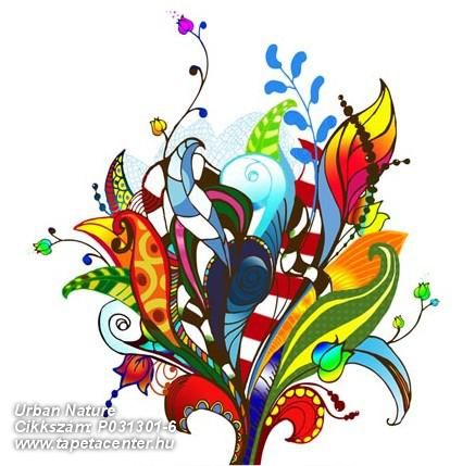 Absztrakt,rajzolt,retro,természeti mintás,virágmintás,fehér,fekete,kék,lila,narancs-terrakotta,piros-bordó,sárga,türkiz,zöld,gyengén mosható,vlies poszter, fotótapéta