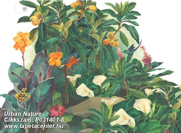 Rajzolt,retro,természeti mintás,virágmintás,fehér,narancs-terrakotta,piros-bordó,sárga,vajszín,zöld,gyengén mosható,vlies poszter, fotótapéta