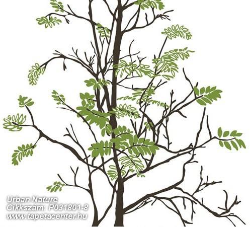 Fa hatású-fa mintás,különleges motívumos,rajzolt,természeti mintás,fehér,fekete,zöld,gyengén mosható,vlies poszter, fotótapéta
